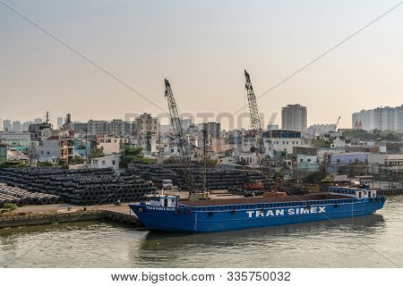 Ho Chi Minh City, Vietnam - March 13, 2019: Tan Thuan Port On Song Sai Gon River At Sunset. Blue Tra