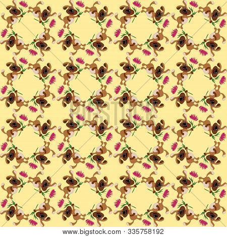 Seamless Texture, Pattern - A Dog Carries A Flower As A Gift.
