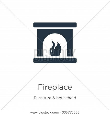 Fireplace Icon Vector. Trendy Flat Fireplace Icon From Furniture Collection Isolated On White Backgr