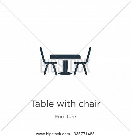 Table With Chair Icon Vector. Trendy Flat Table With Chair Icon From Furniture Collection Isolated O