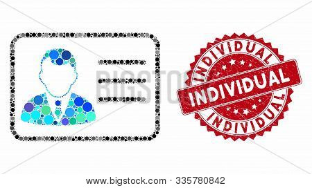 Mosaic Account Card And Grunge Stamp Seal With Individual Phrase. Mosaic Vector Is Created With Acco