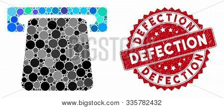 Mosaic Bank Atm And Distressed Stamp Watermark With Defection Text. Mosaic Vector Is Designed With B