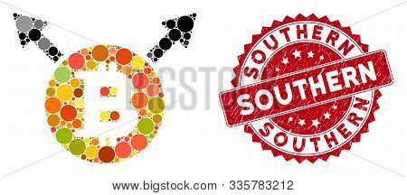 Mosaic Bitcoin Fork And Corroded Stamp Seal With Southern Caption. Mosaic Vector Is Created With Bit