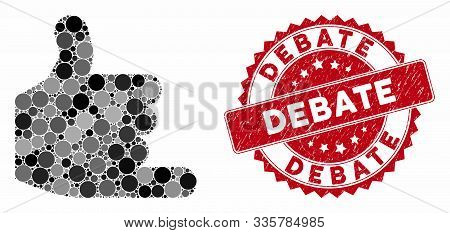 Mosaic Call And Grunge Stamp Seal With Debate Caption. Mosaic Vector Is Created From Call Icon And W