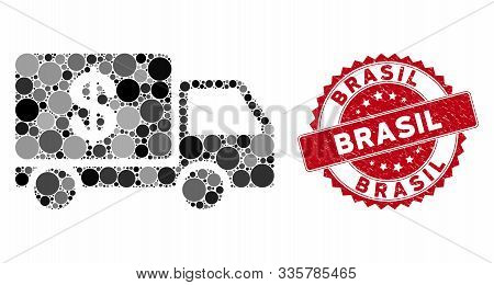 Mosaic Cash Delivery And Grunge Stamp Seal With Brasil Text. Mosaic Vector Is Composed With Cash Del