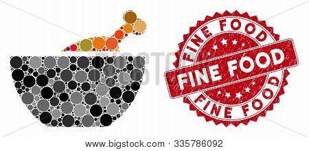 Mosaic Chicken Soup And Rubber Stamp Seal With Fine Food Text. Mosaic Vector Is Formed From Chicken
