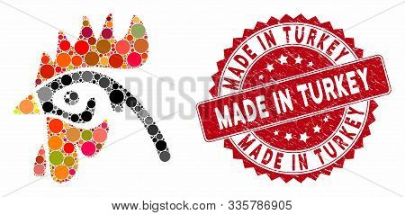 Mosaic Cock Head And Corroded Stamp Seal With Made In Turkey Caption. Mosaic Vector Is Designed With