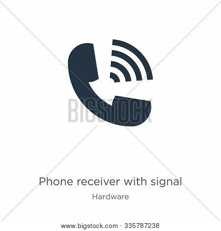 Phone Receiver With Signal Icon Vector. Trendy Flat Phone Receiver With Signal Icon From Hardware Co