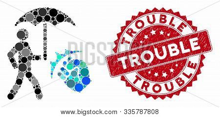 Collage Crime Coverage And Rubber Stamp Seal With Trouble Phrase. Mosaic Vector Is Composed With Cri