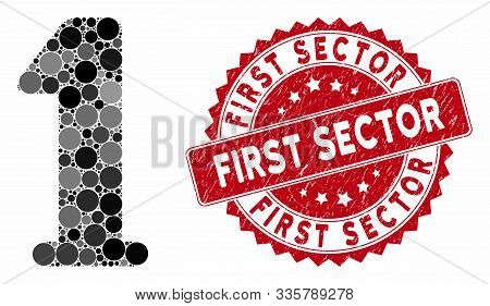 Mosaic Digit One And Distressed Stamp Watermark With First Sector Phrase. Mosaic Vector Is Created W