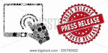 Mosaic Double Click Tablet And Grunge Stamp Watermark With Press Release Caption. Mosaic Vector Is F