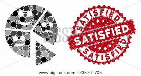 Mosaic Emotion Pie Chart And Rubber Stamp Seal With Satisfied Text. Mosaic Vector Is Designed With E