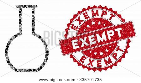 Mosaic Empty Retort And Corroded Stamp Seal With Exempt Phrase. Mosaic Vector Is Created From Empty
