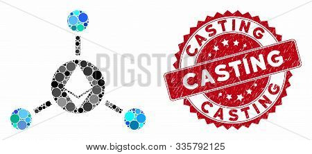 Mosaic Ethereum Connections And Rubber Stamp Watermark With Casting Caption. Mosaic Vector Is Formed