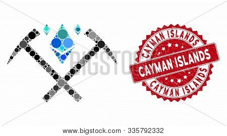 Mosaic Ethereum Crystal Mining Hammers And Grunge Stamp Seal With Cayman Islands Phrase. Mosaic Vect
