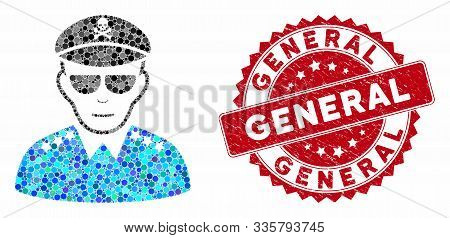 Mosaic Evil Army General And Rubber Stamp Watermark With General Phrase. Mosaic Vector Is Created Wi