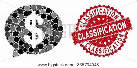Mosaic Financial Message And Corroded Stamp Seal With Classification Text. Mosaic Vector Is Formed W