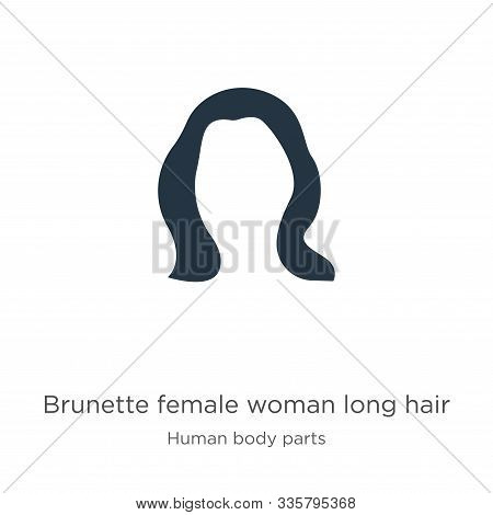 Brunette Female Woman Long Hair Icon Vector. Trendy Flat Brunette Female Woman Long Hair Icon From H