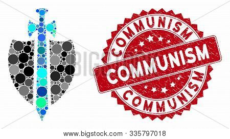 Mosaic Guard And Corroded Stamp Watermark With Communism Text. Mosaic Vector Is Composed With Guard