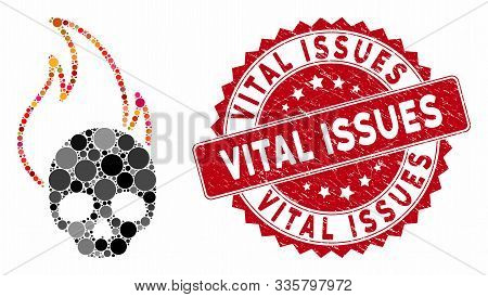 Mosaic Hell Fire And Grunge Stamp Seal With Vital Issues Caption. Mosaic Vector Is Created With Hell