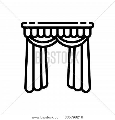 Black Line Icon For  Curtains Veiling  Window-curtains Theater-curtains