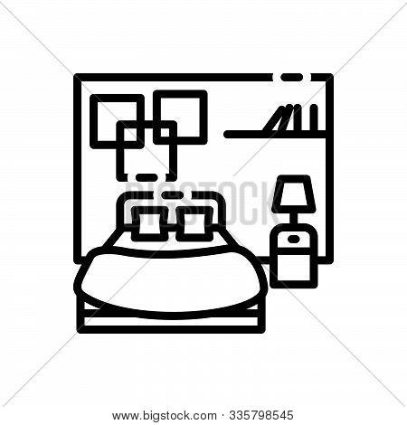 Black Line Icon For Bedroom Dorm Dormer Furniture Living-room Sleep
