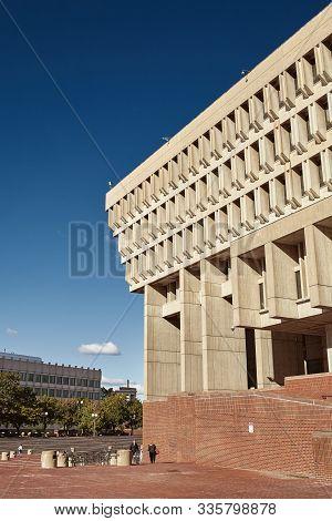 Boston, Massachusetts - October 3rd, 2019: Exterior Of Boston City Hall, An Example Of Brutalist Arc