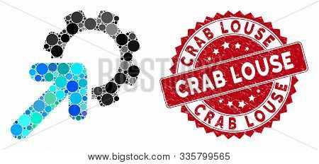 Mosaic Integration Cog And Corroded Stamp Seal With Crab Louse Caption. Mosaic Vector Is Created Wit