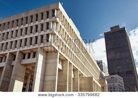Exterior Of Boston City Hall, An Example Of Brutalist Architecture, In Downtown Boston.
