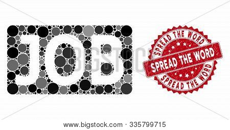 Mosaic Job Caption And Rubber Stamp Watermark With Spread The Word Text. Mosaic Vector Is Composed W