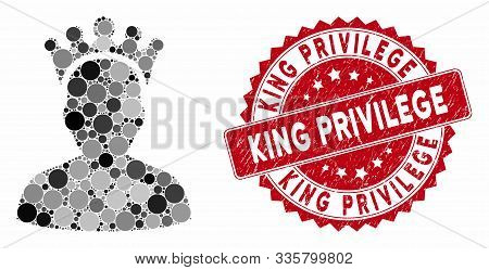 Mosaic King And Grunge Stamp Watermark With King Privilege Text. Mosaic Vector Is Created With King
