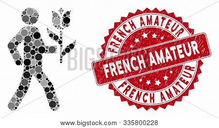 Collage Lover With Flower And Rubber Stamp Seal With French Amateur Caption. Mosaic Vector Is Formed