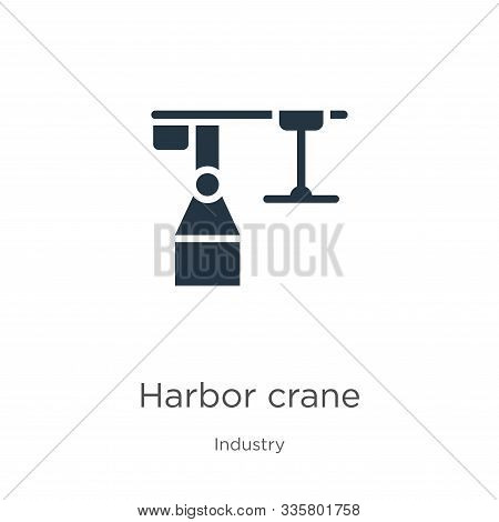 Harbor Crane Icon Vector. Trendy Flat Harbor Crane Icon From Industry Collection Isolated On White B