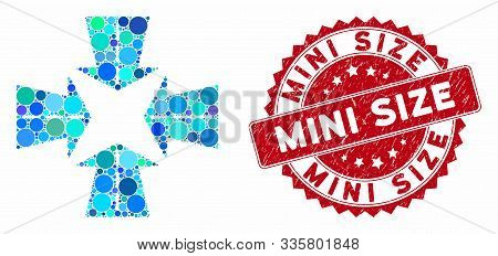Mosaic Merge Directions And Distressed Stamp Seal With Mini Size Text. Mosaic Vector Is Composed Wit