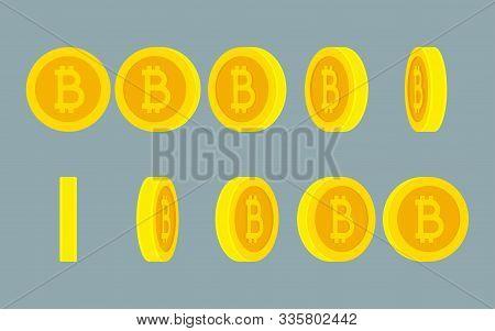 Bitcoin Rotating Gif Animation Sprite Sheet On