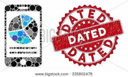 Mosaic Mobile Report And Rubber Stamp Seal With Dated Phrase. Mosaic Vector Is Created With Mobile R
