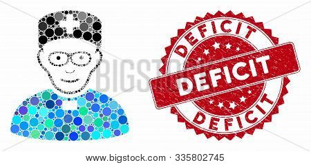 Mosaic Monastic Doctor And Grunge Stamp Watermark With Deficit Text. Mosaic Vector Is Formed With Mo