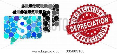 Mosaic Money Messages And Grunge Stamp Seal With Depreciation Text. Mosaic Vector Is Composed With M