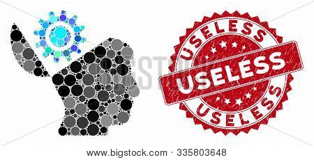 Mosaic Open Head Gear And Corroded Stamp Seal With Useless Text. Mosaic Vector Is Composed With Open