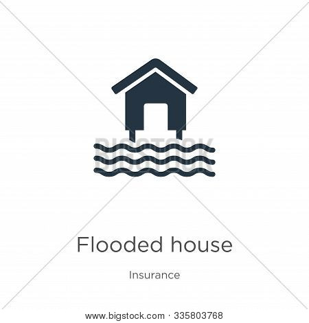 Flooded House Icon Vector. Trendy Flat Flooded House Icon From Insurance Collection Isolated On Whit