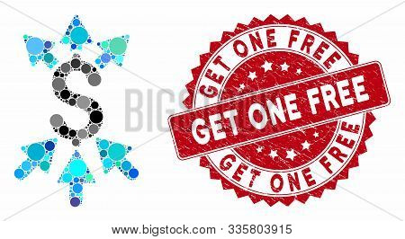 Mosaic Payment Broker And Distressed Stamp Watermark With Get One Free Caption. Mosaic Vector Is Des