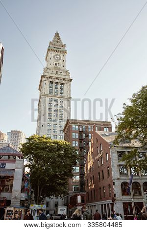 Boston, Massachusetts - October 4th, 2019:  Faneuil Hall Marketplace With Custom House Tower In The