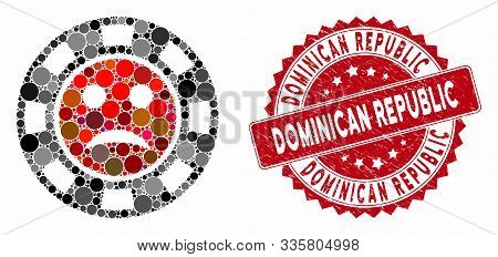 Mosaic Pity Casino Chip And Corroded Stamp Seal With Dominican Republic Text. Mosaic Vector Is Compo