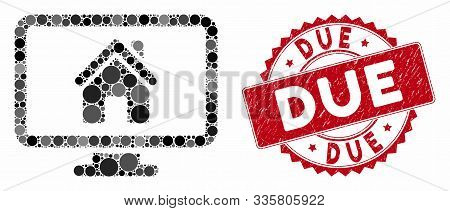 Mosaic Realty Monitoring And Rubber Stamp Seal With Due Phrase. Mosaic Vector Is Designed With Realt