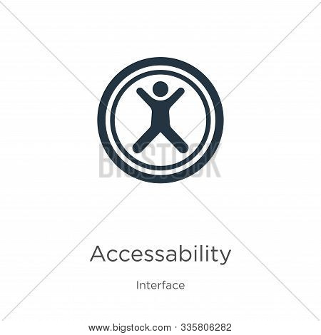 Accessability Icon Vector. Trendy Flat Accessability Icon From Interface Collection Isolated On Whit