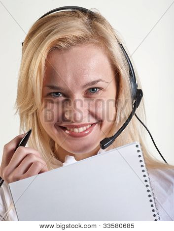 Business Woman With A Speakerphone