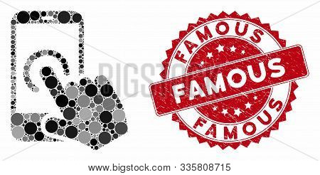 Mosaic Smartphone Tap And Corroded Stamp Seal With Famous Caption. Mosaic Vector Is Created With Sma