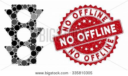 Mosaic Traffic Lights Off And Grunge Stamp Seal With No Offline Caption. Mosaic Vector Is Created Fr