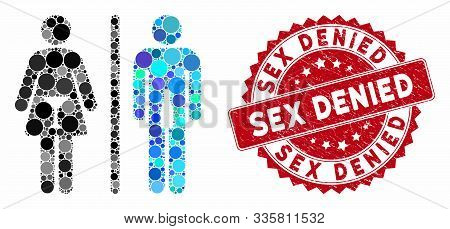Mosaic Wc Persons And Rubber Stamp Watermark With Sex Denied Caption. Mosaic Vector Is Created With