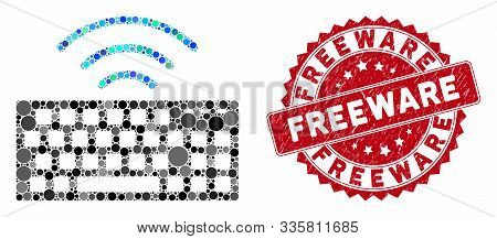 Mosaic Wireless Keyboard And Corroded Stamp Seal With Freeware Phrase. Mosaic Vector Is Created With